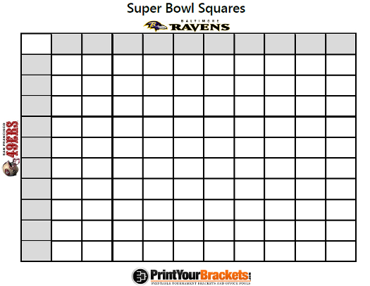 2013 super bowl ravens 49ers san francisco betting squares super bowl ...