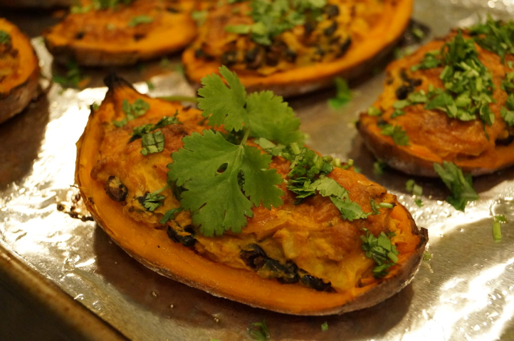 santa fe sweet potatoes healthy vegetarian gluten-free recipe black beans corn cilantro
