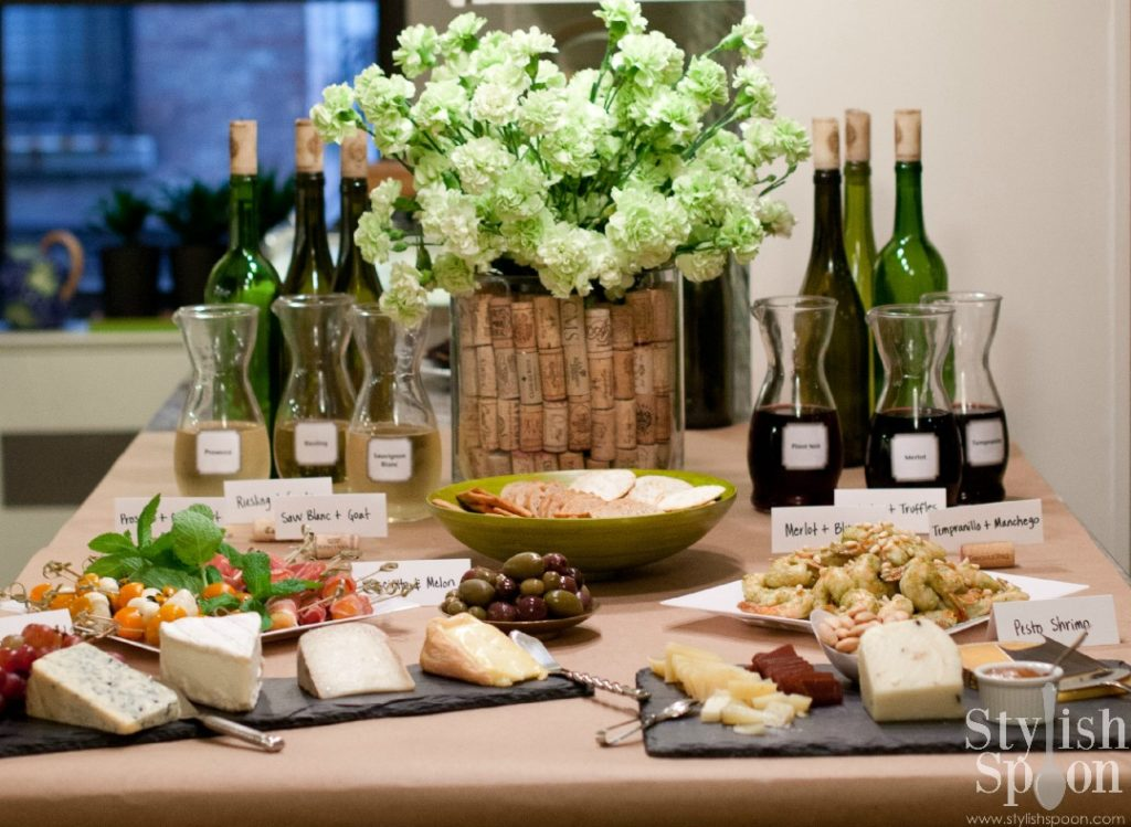 Wine and cheese tasting party, complete with a printable list of wine and cheese pairings and suggested vineyards and brands of cheese | Stylish Spoon